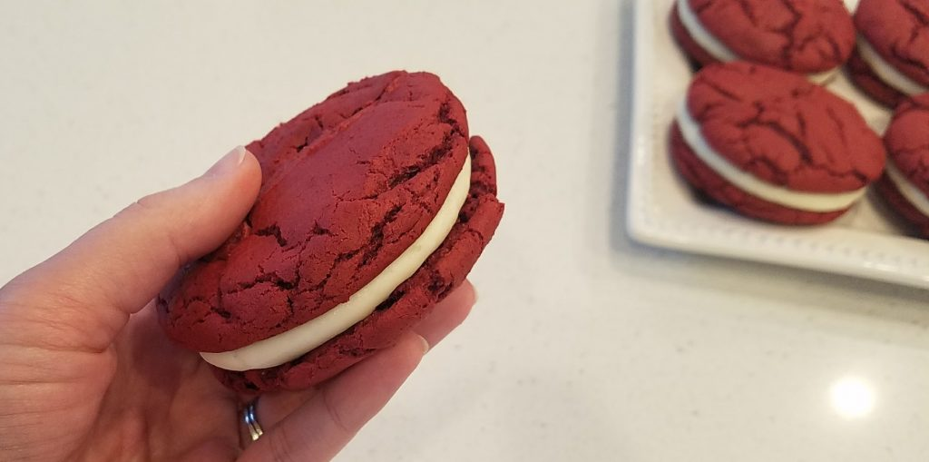 Easy Red Velvet Sandwich Cookie with Cream Cheese Frosting