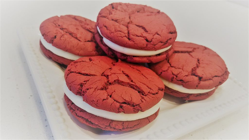 Easy Red Velvet Sandwich Cookies with light and Fluffy Cream Cheese Frosting