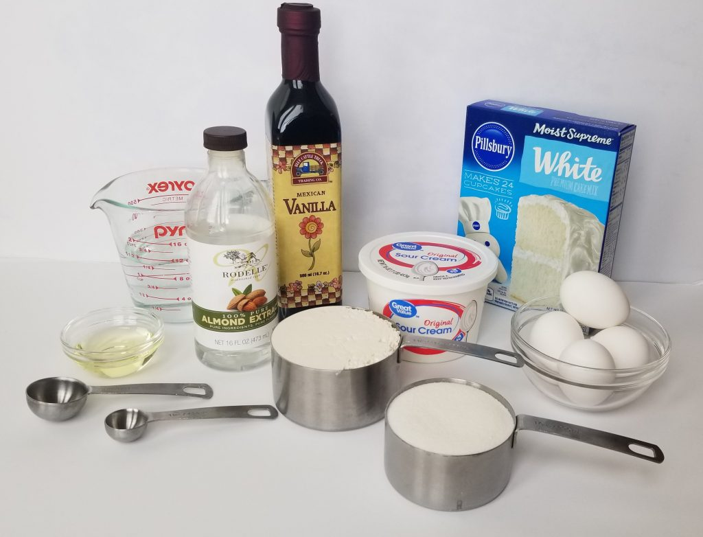 Ingredients to make Easy One Bowl Vanilla Cake