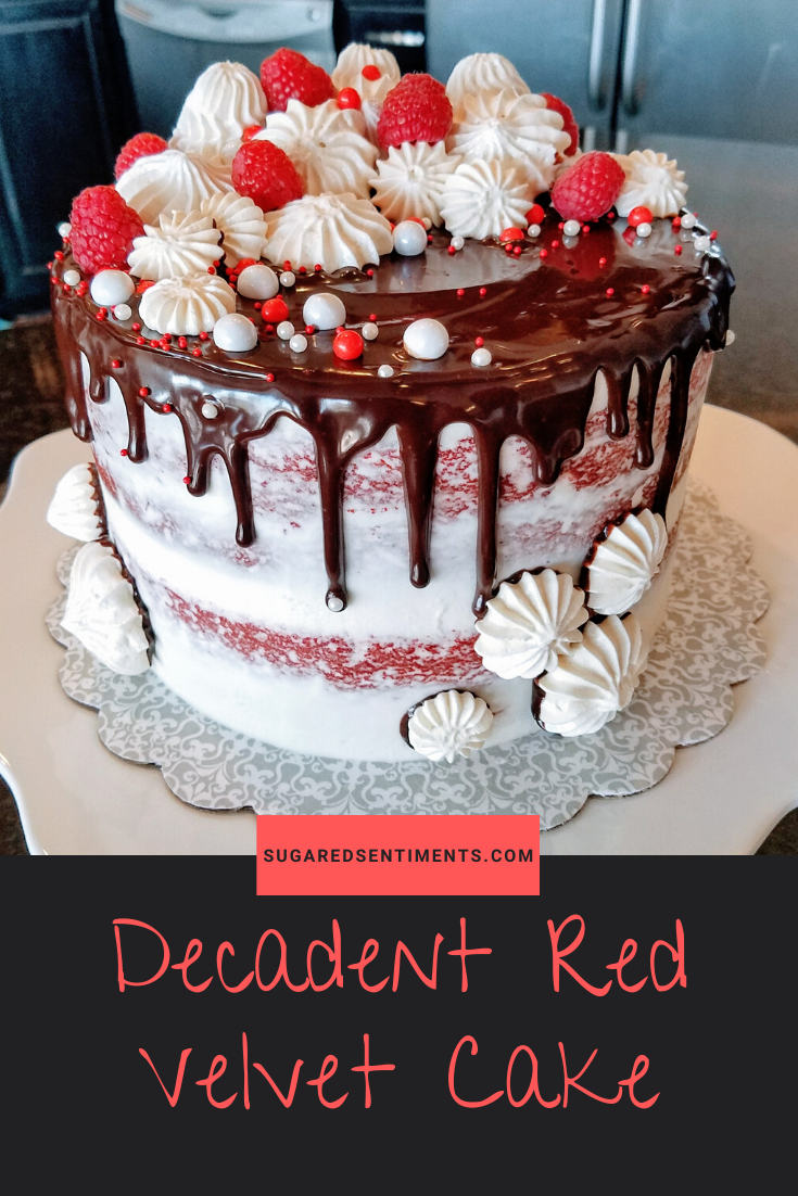 This Decadent Red Velvet Cake is Moist, Flavorful and has a slightly dense texture. It tastes Heavenly with Fluffy Cream Cheese Frosting!
