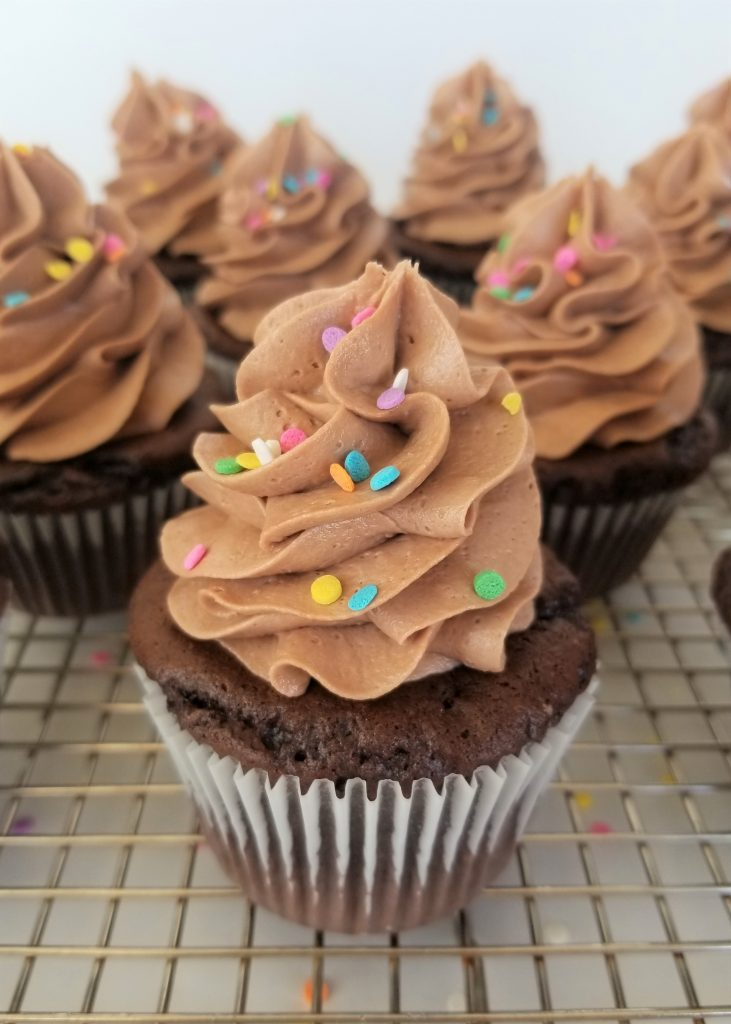 Chocolate Cupcake with Easy Nutella Frosting and Sprinkles