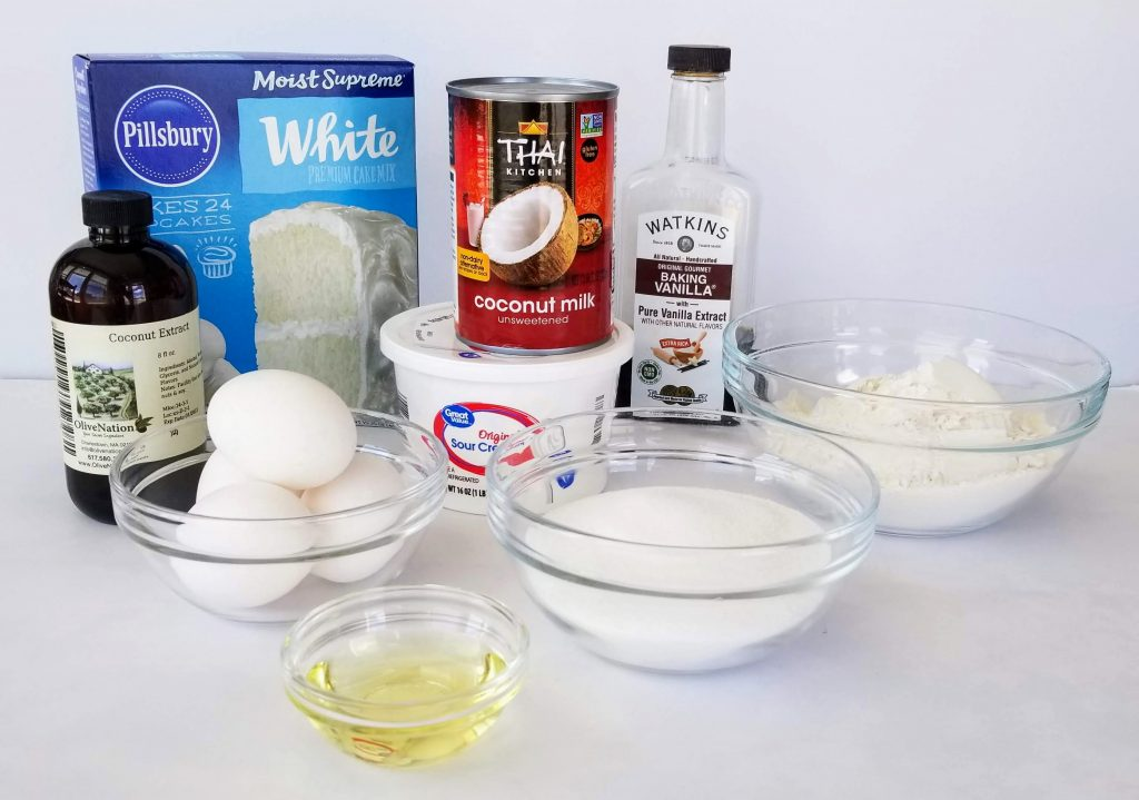 Ingredients for Coconut Cake Batter: Pillsbury White Cake mix, Coconut Milk, Sour Cream, Flour, Sugar, Vegetable Oil, Egg Whites, Vanilla & Coconut Extract