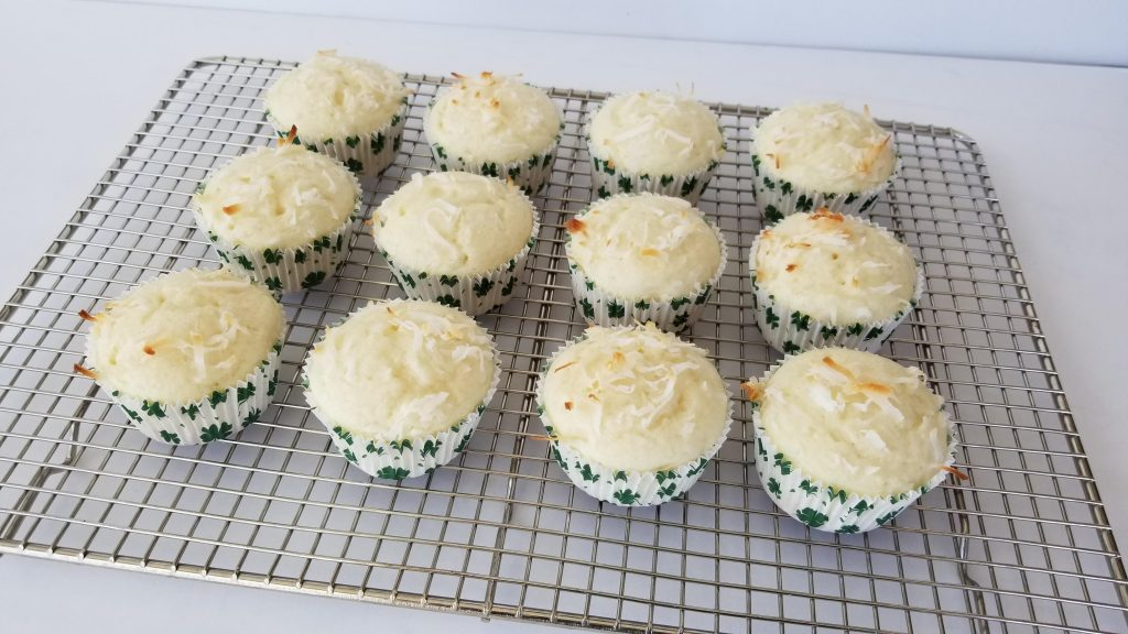 Coconut Cupcakes with Shredded Coconut Baked On Top