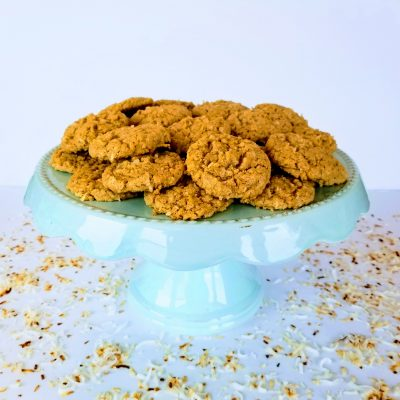 Chewy Coconut Oatmeal Cookies on a Cake Stand