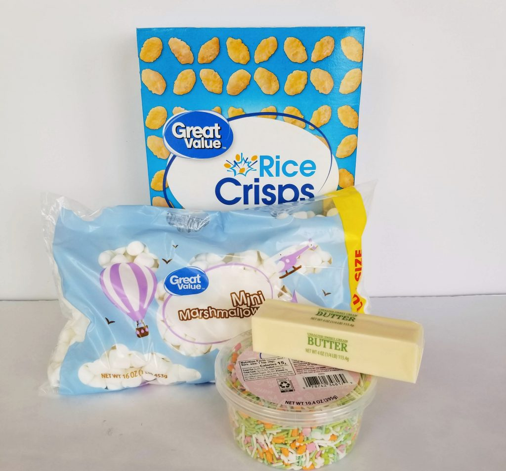 Ingredients to make Easter Rice Crispy Treats. Including: Rice Cereal, Marshmallows, Butter and Sprinkles