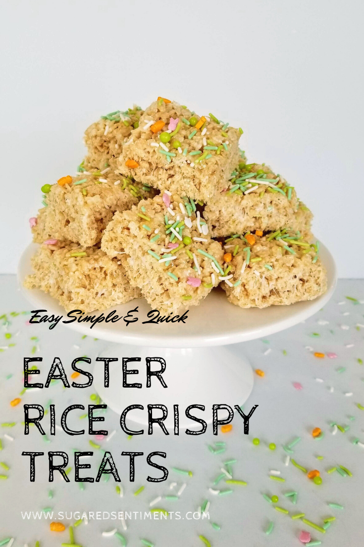 Easy, Simple, Inexpensive and Quick... These Easter Rice Crispy Treats are the perfect treat for your dessert table!
