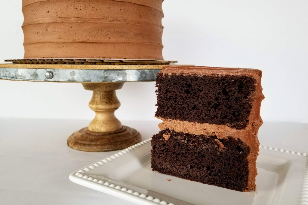 A slice of Easy Moist Dark Chocolate Cake
