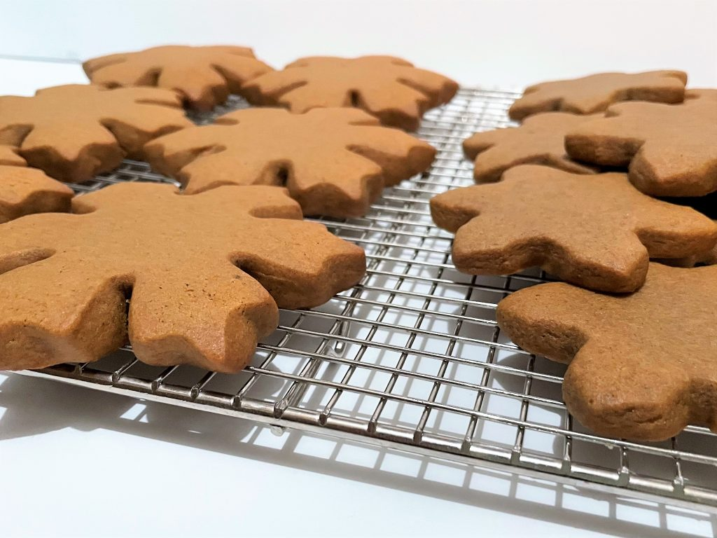 Soft Roll-Out Gingerbread Cookies on a cooling rack