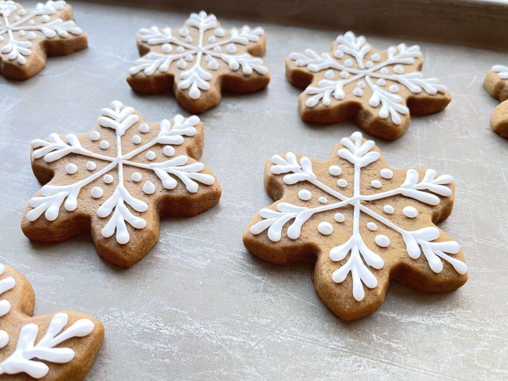 Decorated Gingerbread Snowflake Cookies
