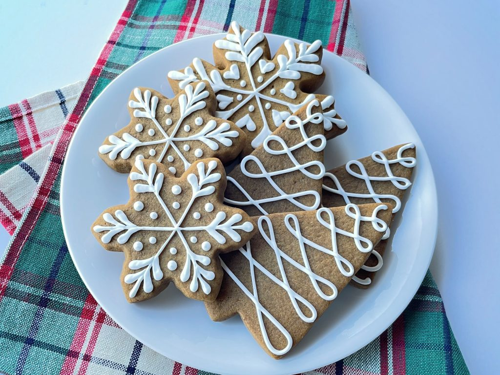Soft Roll-Out Gingerbread Cookies on a holiday set table