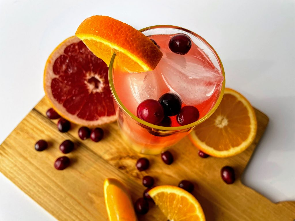 Top view of a Low Calorie Cranberry Citrus Mocktail