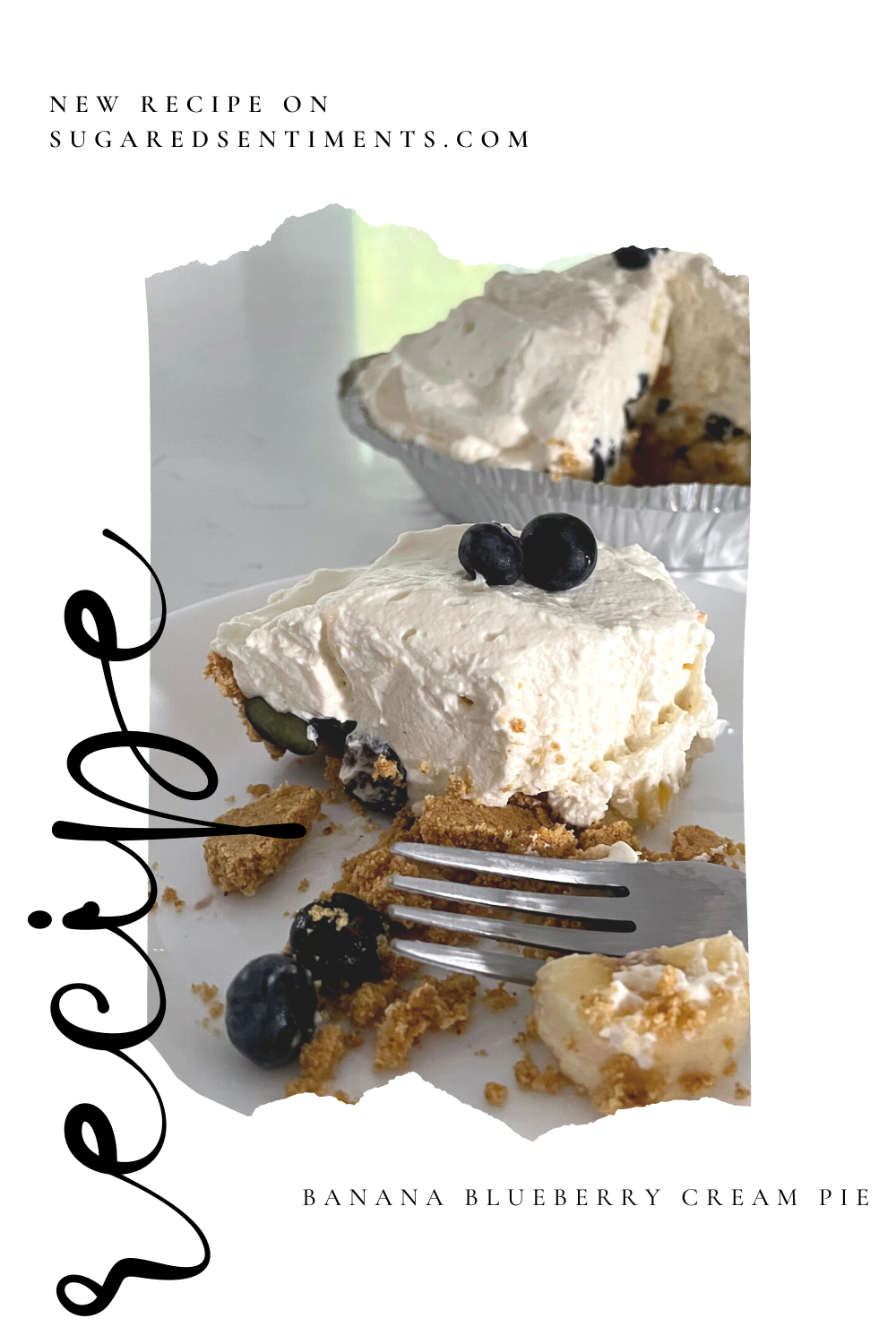 An easy no bake dessert with hints of summer blueberries and bananas. Creamy and light for even the biggest pie hater!
